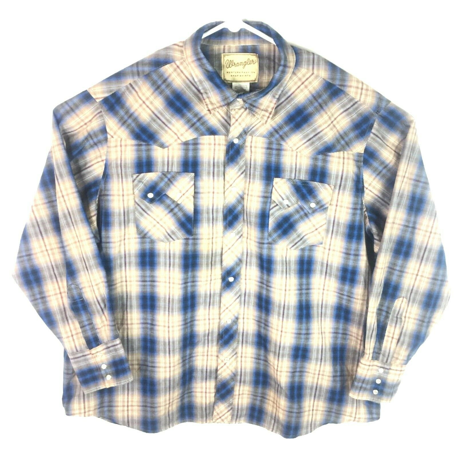 Mens Vintage Pearl Snap Long Sleeve Brown bluee Wrangler Plaid Shirt Size 2XL