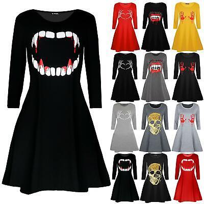 Women Ladies Halloween Ghost Skull Costume Horror Flared Skater Swing Midi Dress