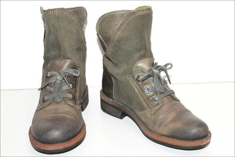 SNIPE Bottines Boots à Lacets Cuir Gris Foncé Doublées Cuir T 38 BE