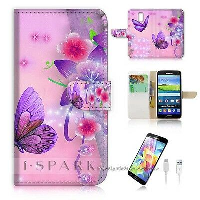 Samsung Galaxy S5 Flip Wallet Case Cover! S8079 Butterfly
