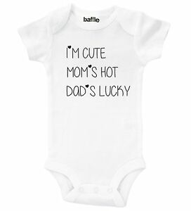 I/'m Cute My Mums Cute My Dads Lucky White Baby Rompersuit