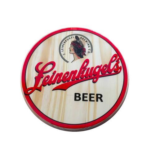 "Leinenkugel/'s Beer Wood Sign 12/"" diameter New"