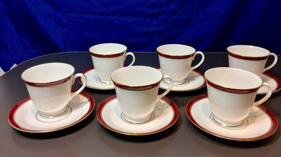 Royal Worcester Medici Ruby Tazza tè set 6 pz -1104 -Tea cups & saucers - NEW