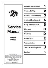 JCB 8027z 8032z Mini Escavatore Manuale di servizio (B392)