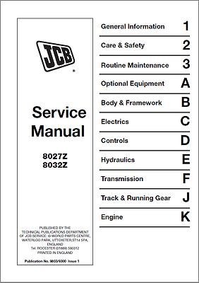 The Latest Fashion b392 Well-Educated Jcb 8027z 8032z Mini Excavator Service Manual