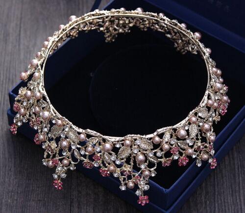 Luxus Rosa  Kristall Königin Krone Hochzeit Braut Party Pageant Prom 15cm