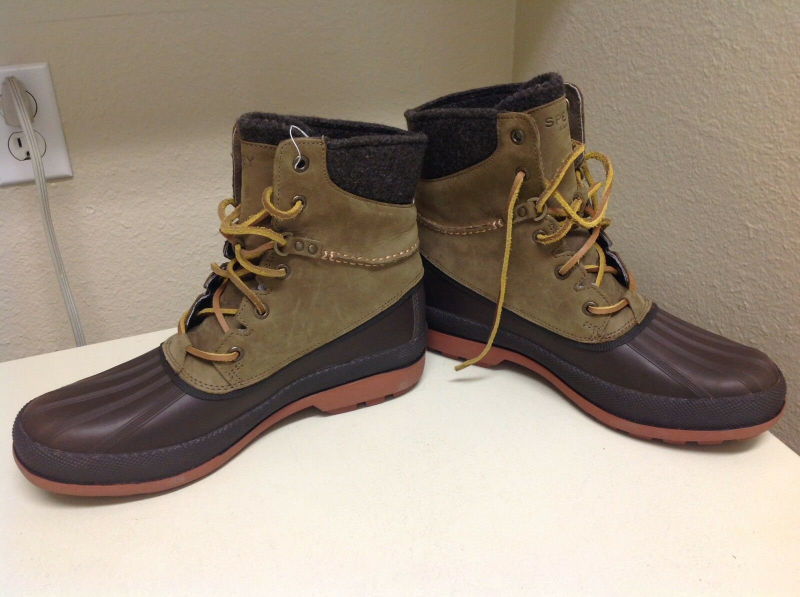 NEW Mens SPERRY TOP-SIDER DK Brown Leather COLD BAY Waterproof Boots shoes 9M