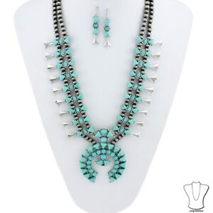 Western-Silver-Navajo-Style-Pearl-Turquoise-Howlite-Squash-Blossom-Necklace-Set
