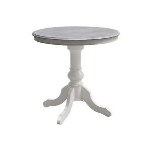 Tavolo Rotondo Legno Bianco.Dettagli Su Tavolo Rotondo 80 Cm In Legno Bianco Style Shabby Bellissimo