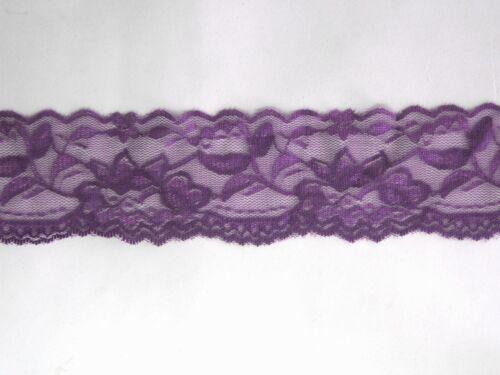 1.5 metros de banda elástica cenefa ribete 5cm de ancho motivo floral lila tierna DIY
