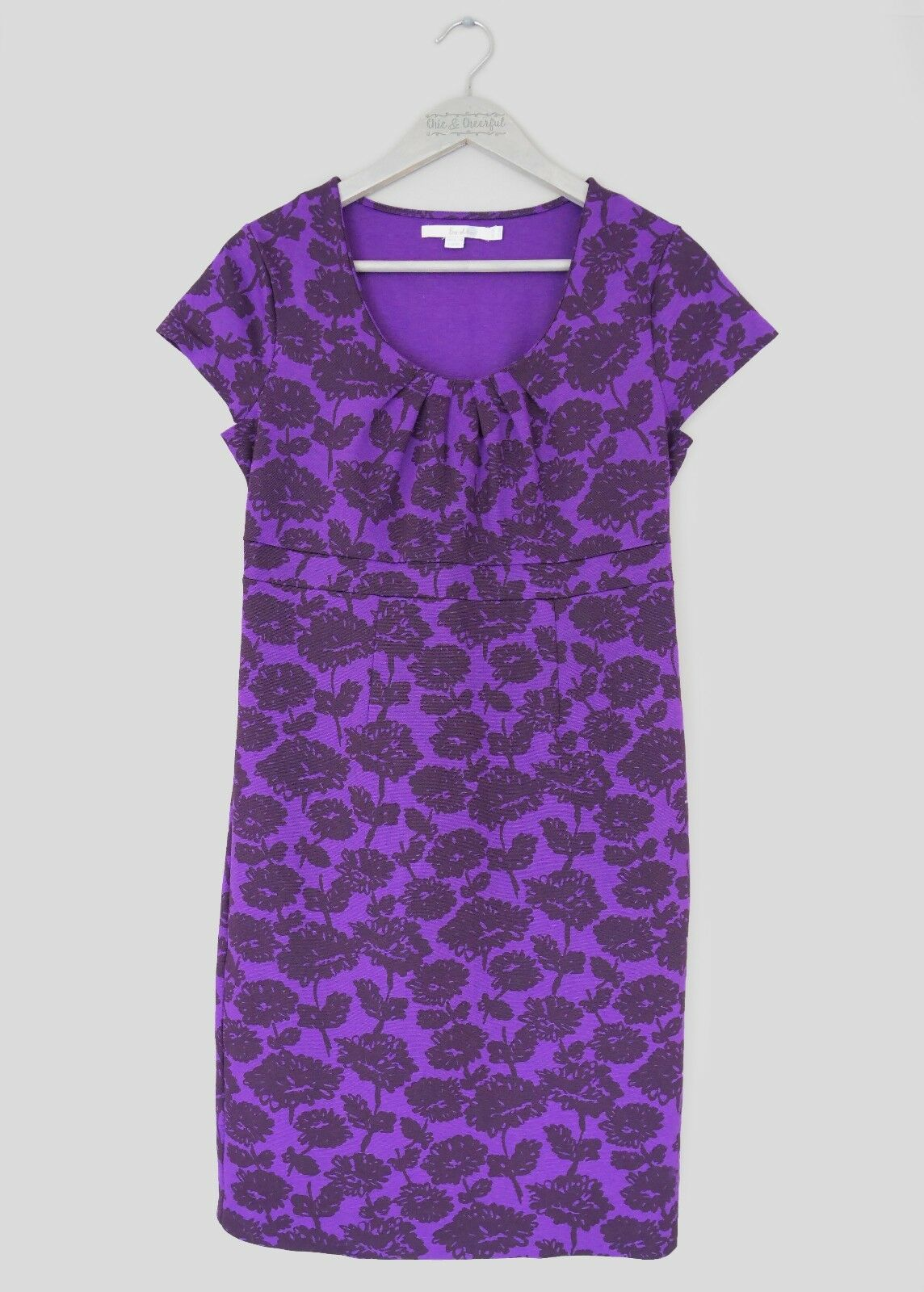 BODEN WOMENS 'UPTOWN' PURPLE FLORAL JERSEY EMPIRE LINE PENCIL DRESS -