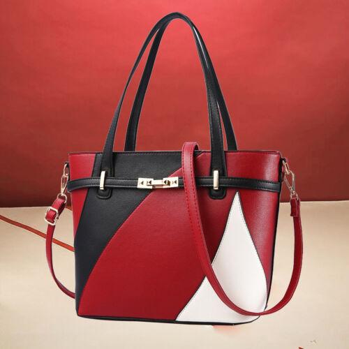 Damentasche Leder Shopper Schultertasche Handtasche Tragetasche Schwarz/&Rot/&Weiß