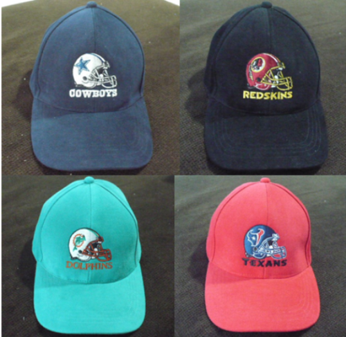 NFL-FOOTBALL-HATS-COWBOYS-REDSKINS-DOLPHINS-TEXANS-NEW-PRE-OWNED-ADJUSTABLE