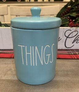 Rae-Dunn-Magenta-THINGS-Bathroom-Counter-Blue-Ceramic-Organizer-W-Lid