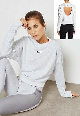 Nike Women's Cropped Crew XS Gray Black Pullover Sweatshirt | eBay