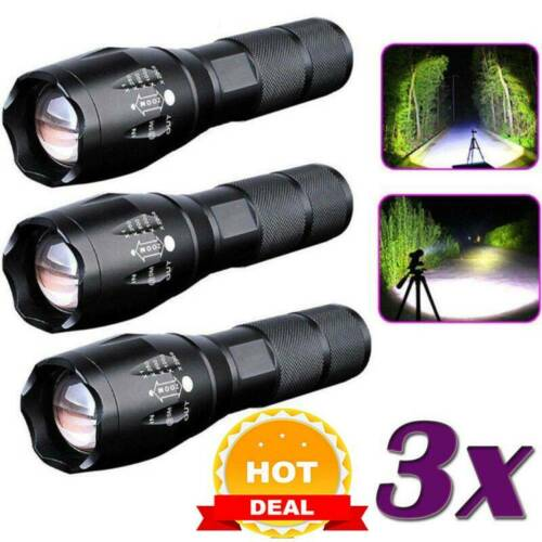 Police 20000LM T6 LED 18650 Super Bright Zoom Flashlights Powerful Lamp Torch ~
