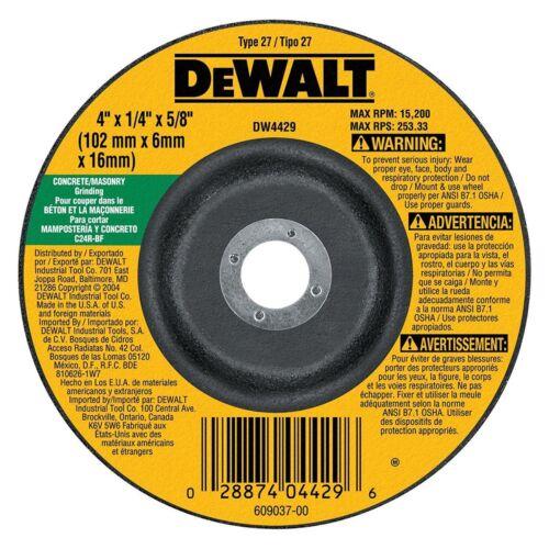 x 5//8in Dewalt DW4429 4in Type 27 Masonry Grinding Wheel x 1//4in