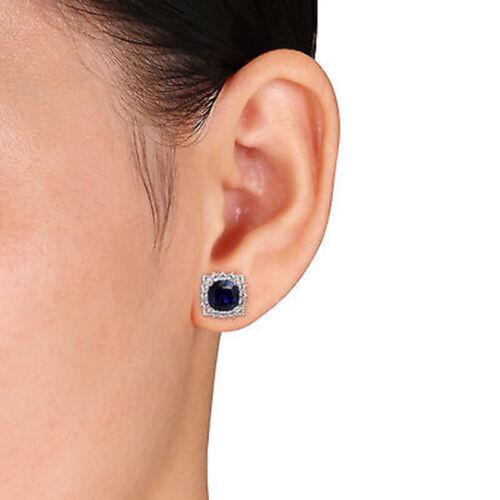 Sterling Silver créé bleu et blanc saphir Boucles d/'oreille