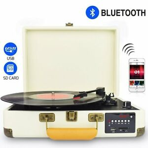 Ebay Record Player >> 3 Speed Bluetooth Usb Suitcase Vinyl Record Player Stereo Turntable