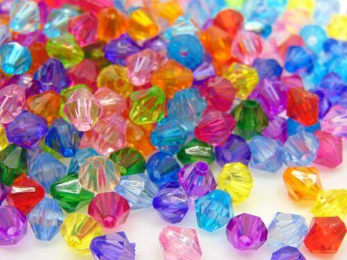 300 pcs Mixte Acrylique 6 mm à facettes Bobine biconique Perles Artisanat Bijoux GRATUIT UK P P A96