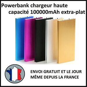 CHARGEUR-EXTERNE-BATTERIE-100000MAH-EXTRA-PLAT-USB-TABLETTE-USB-1A-2A-POWER-BANK
