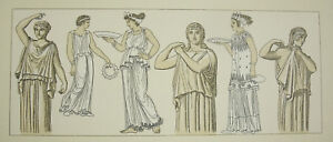 Costumes Traditionnels, Grèce Antique Carred Del Firmin Didot C1888 Lithographie