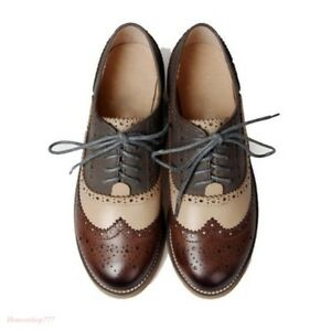 Retro-Womens-Leather-Flat-Low-Heels-Oxfords-Brogues-Wingtip-Lace-Up-Dress-Shoes