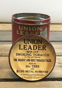 Antique-Union-Leader-Smoking-Tobacco-Humidor-Tin-EST-1750