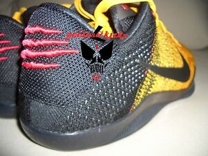 1a27905b9e9a Details about Nike Kobe XI 11 Elite Low Bruce Lee Warrior Spirit Black Gold  Red yellow flyknit