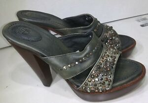 Frye-Pums-Brown-Leather-Green-Studded-Open-Toe-Platform-Womens-Size-8-B