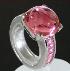 925-ECHT-SILBER-RHODINIERT-Grosser-massiver-Ring-Zirkonia-pink-Gr-54-55