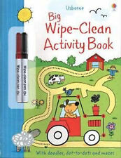 Usborne BIG Wipe Clean Activity Book - doodles,dot to dot,mazes with 2 pens