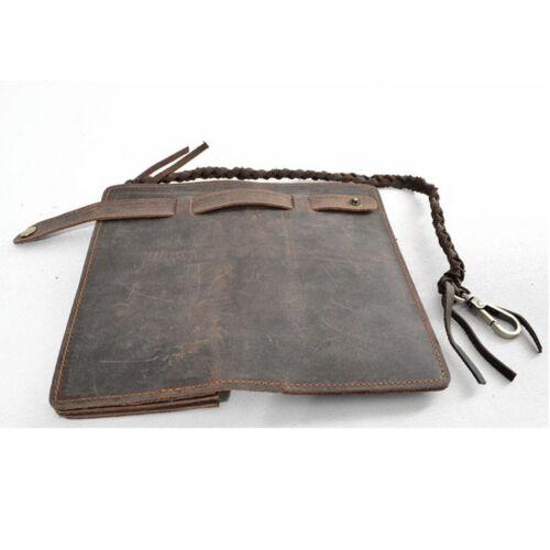 Vintage Men Leather Biker Long Chain Trucker Wallet Card Holder Checkbook Purse