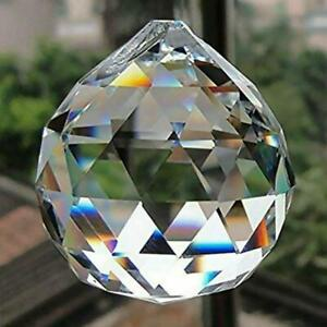 FACETED-CRYSTAL-SPHERE-2-034-50mm-Clear-Feng-Shui-Rainbow-Sun-Catcher-Prism-Ball