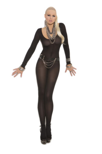 Black white nude Opaque long sleeve plus size or one size S to 3x bodystocking
