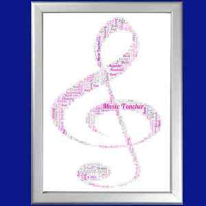 Personalised Word Art Musical Note Shape Say Thank You To Your Music