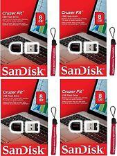 Lot 4 x SanDisk 8GB SD CZ33 (=32GB) USB Cruzer Fit 8G USB 2.0 SDCZ33-008G +Lany