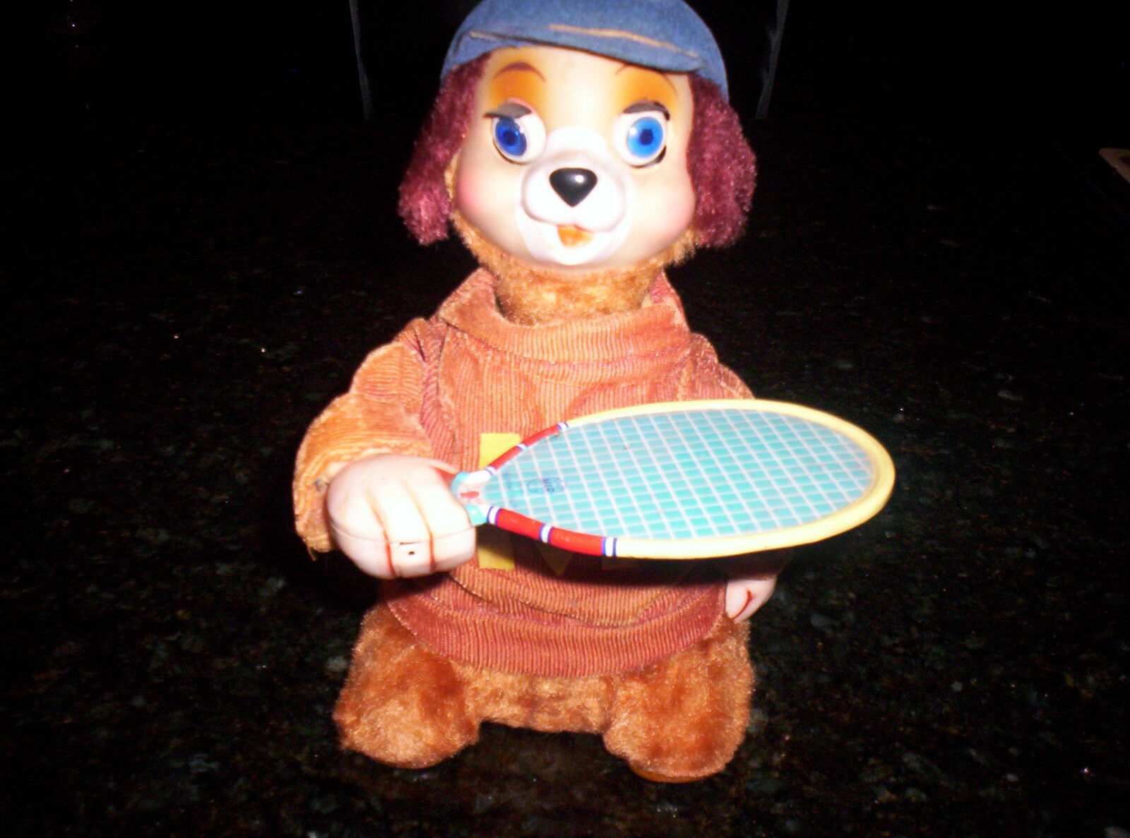 1950s Linemar Tin Litho Dog Playing Ball Battery Operated Tennis Raquet Marx Toy