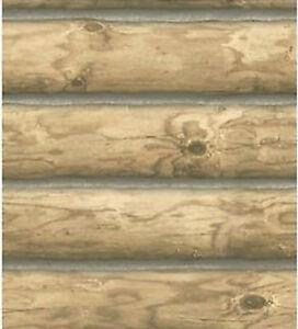 York Mountain Rustic Cabin Logs Wallpaper Medium Brown