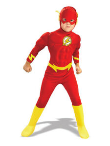 Traje-de-nino-el-flash-con-parte-delantera-Fancy-Dress-Costume-Superheroes-Ninos-Chicos-BN