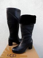 Ugg Avery Black Water-resistant Leather Sheepskin Boots, Us 8.5/ Eur 39.5