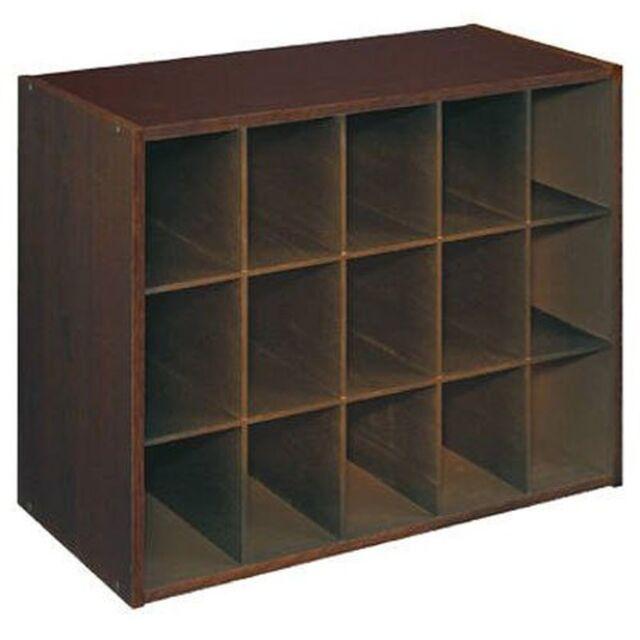 Shoe Organizer Closet Cabinet Rack Storage Shelf 15 Cubby Space Decor Dark  Brown