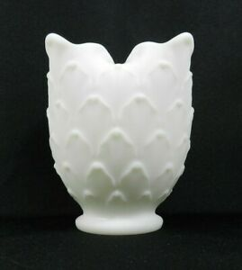"Vintage Imperial Vase White Milk Glass Artichoke Scale Ruffled Edges 5"""