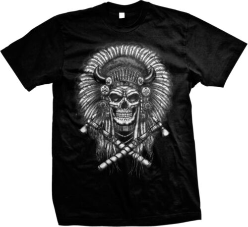 Indian Chief Skull Tomahawks Native American Oversize Print Men/'s T-shirt