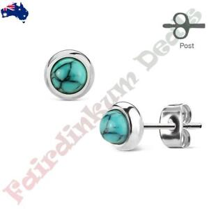 Pair-of-Bazeled-Semi-Precious-Turquoise-Stone-316L-Surgical-Steel-Stud-Earrings