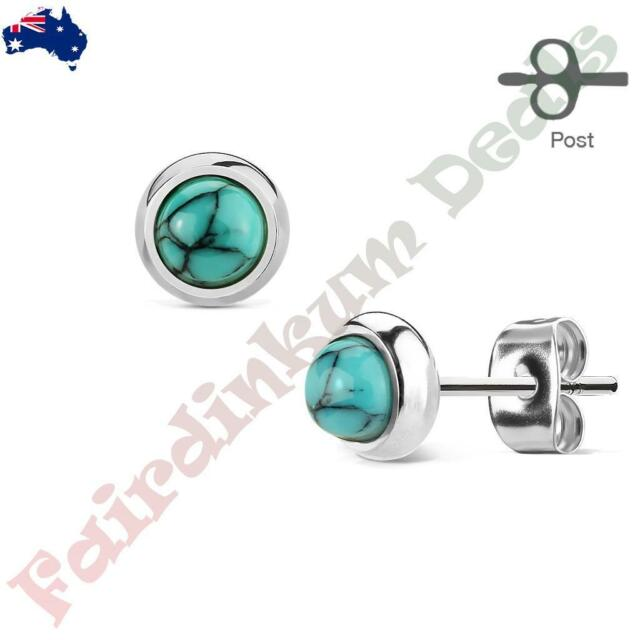 Pair of Bazeled Semi Precious Turquoise Stone 316L Surgical Steel Stud Earrings