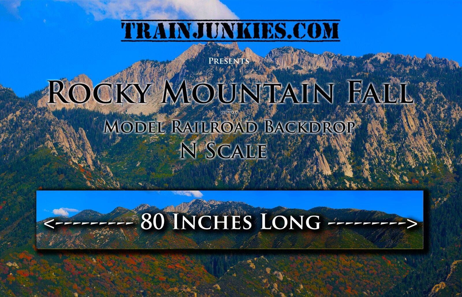 nuevo estilo Trainjunkies N scale  Rocky Rocky Rocky Mountain caída  modelo del ferroCocheril telón de fondo 12 x80   compras en linea