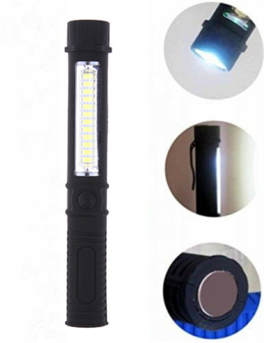 COB LED Pocket Pen Light Inspection Work Light Flashlight Torch with Clip //MA