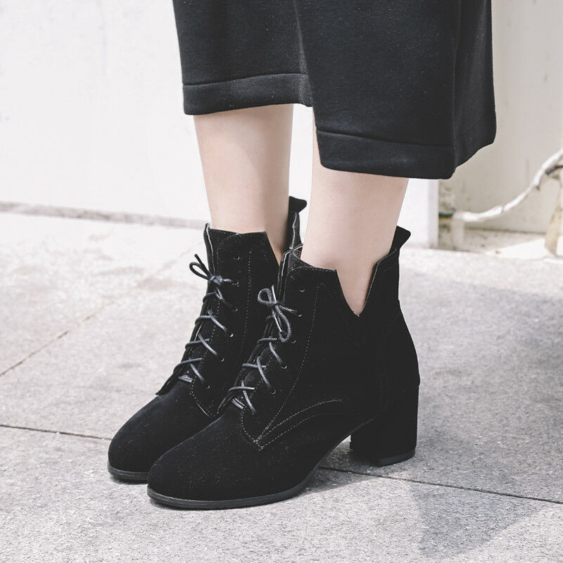 Trendy Lady Womens Lace Up Mid Block Heels Ankle Boots Casual shoes Plus Size