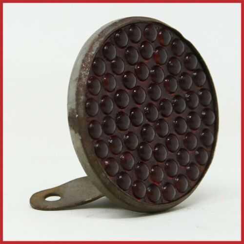 NOS VINTAGE RED REAR LIGHT REFLECTOR OLD BICYCLE ANTIQUE 40s 50s STEEL GLASS